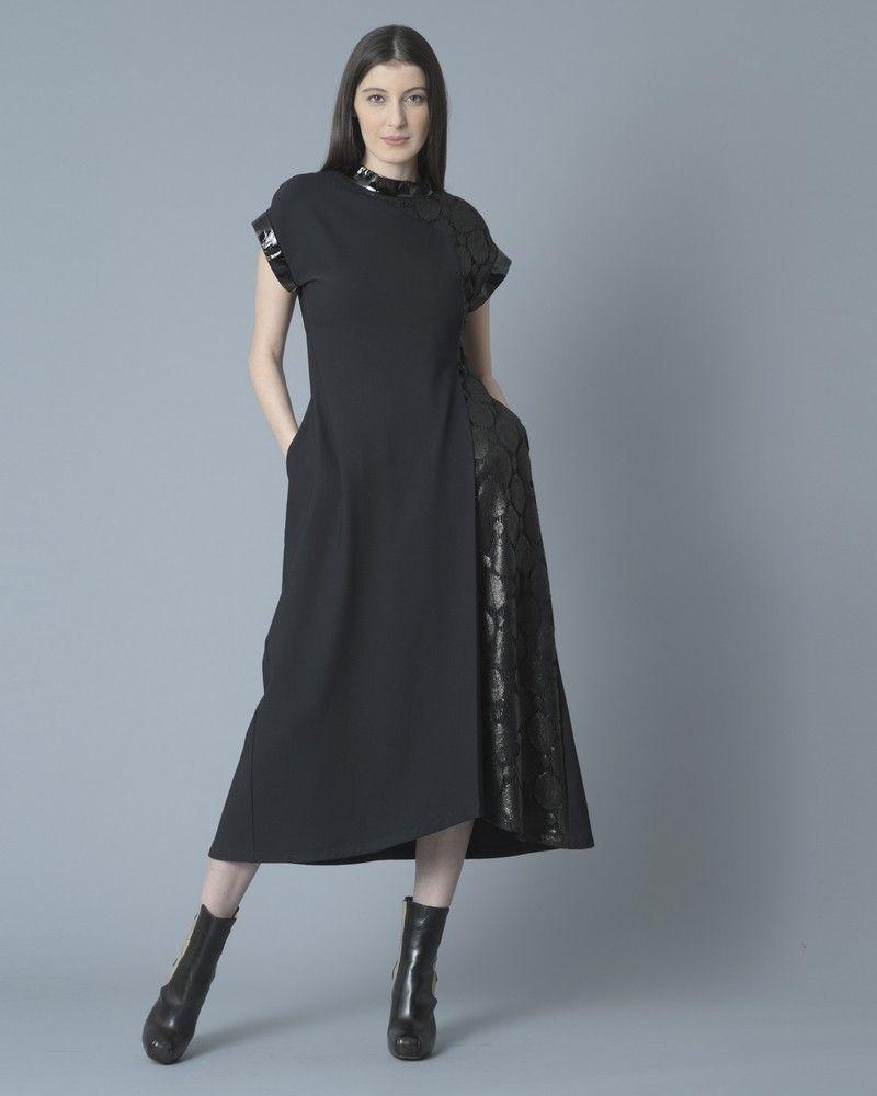 Robe bimatière noire Sonia Speciale