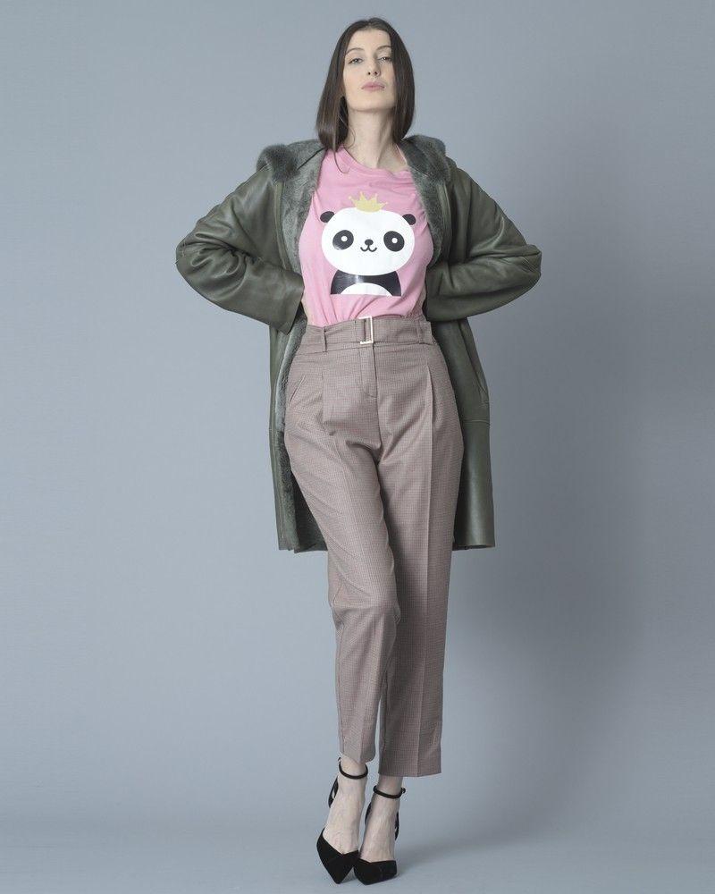 Pantalon droit raccourci à carreaux pied-de-poule Nenette