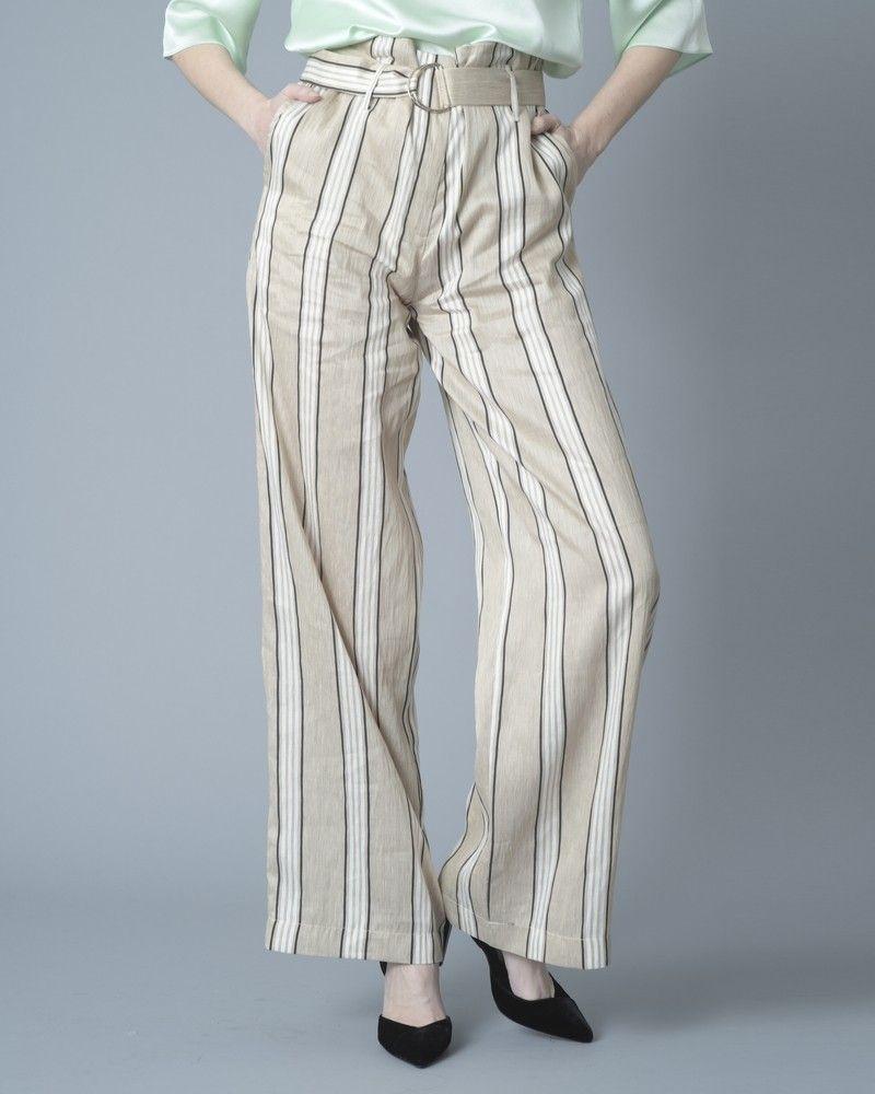 Pantalon beige à rayures verticales Jijil