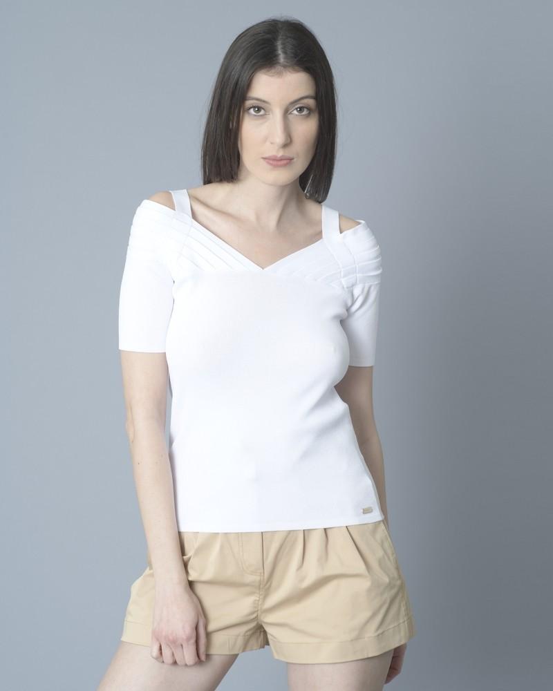 Top à col bardot plissé blanc Nenette