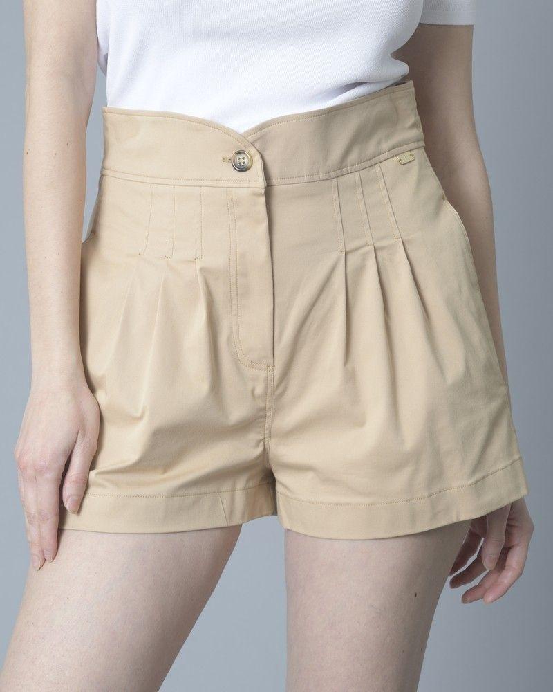 Short en coton mélangé à taille haute Nenette