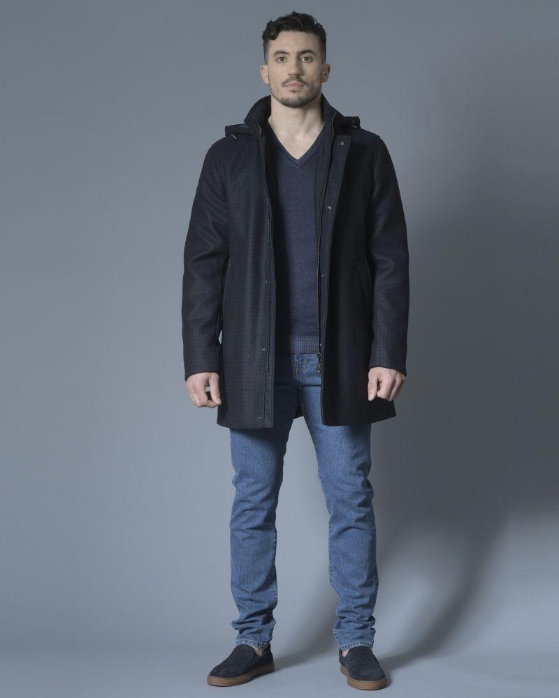 Manteau en laine mélangée à capuche amovible Palto