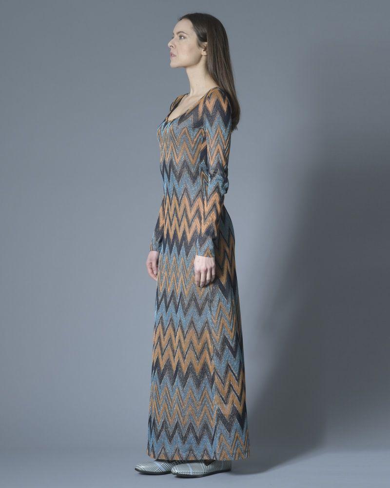 Robe longue en maille métallisée à motif zigzags Missoni