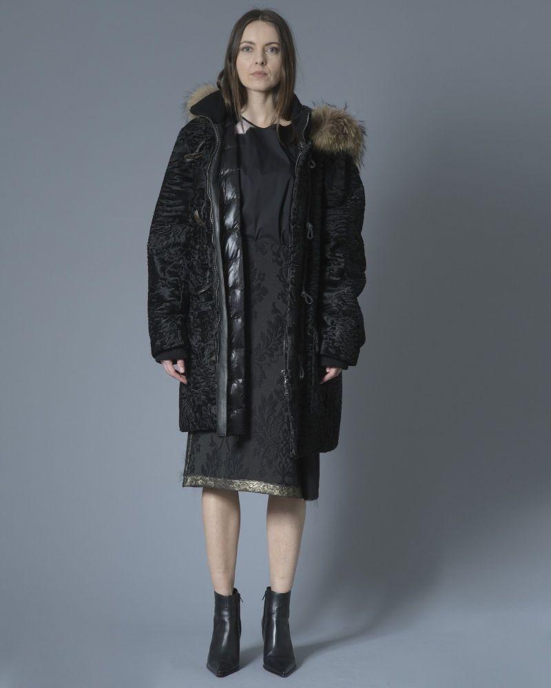 Manteau duffle coat en peau lainée à capuche Edho Fontani