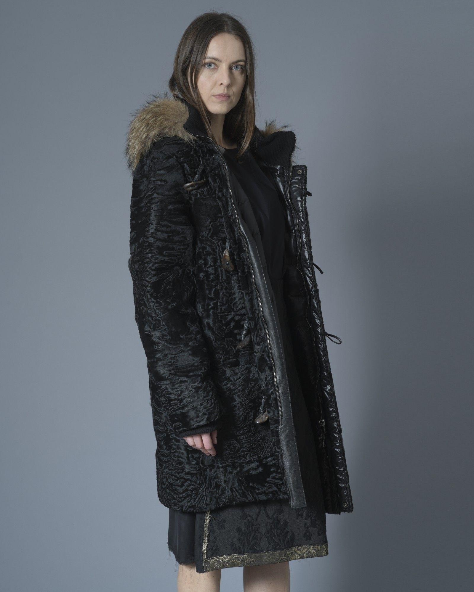 Manteau duffle coat à capuche noir