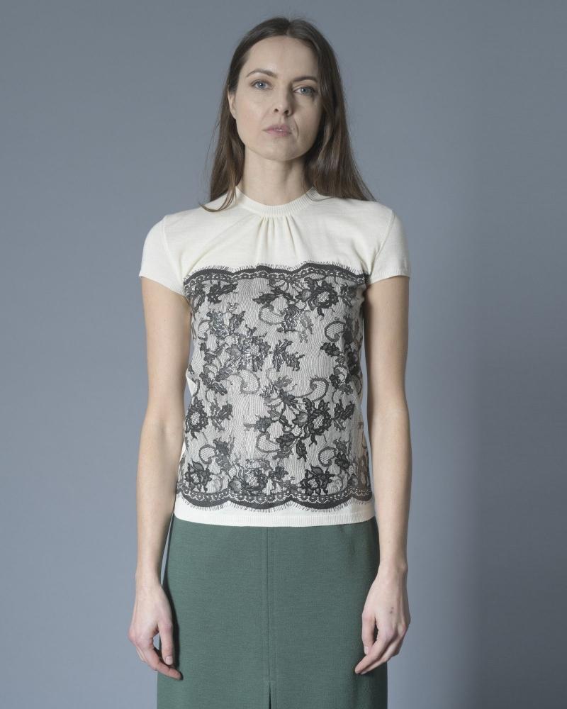 T-shirt en laine à motif dentelle Emanuel Ungaro