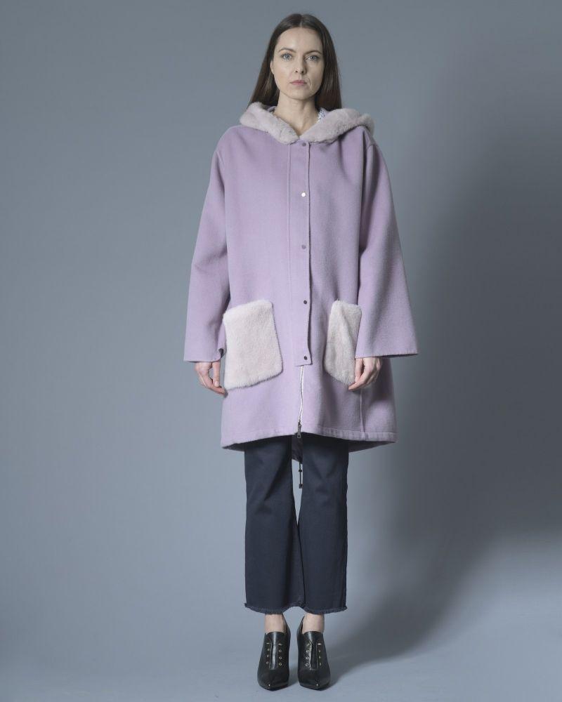 Manteau en laine et cachemire à empiècements en fourrure Manzoni 24