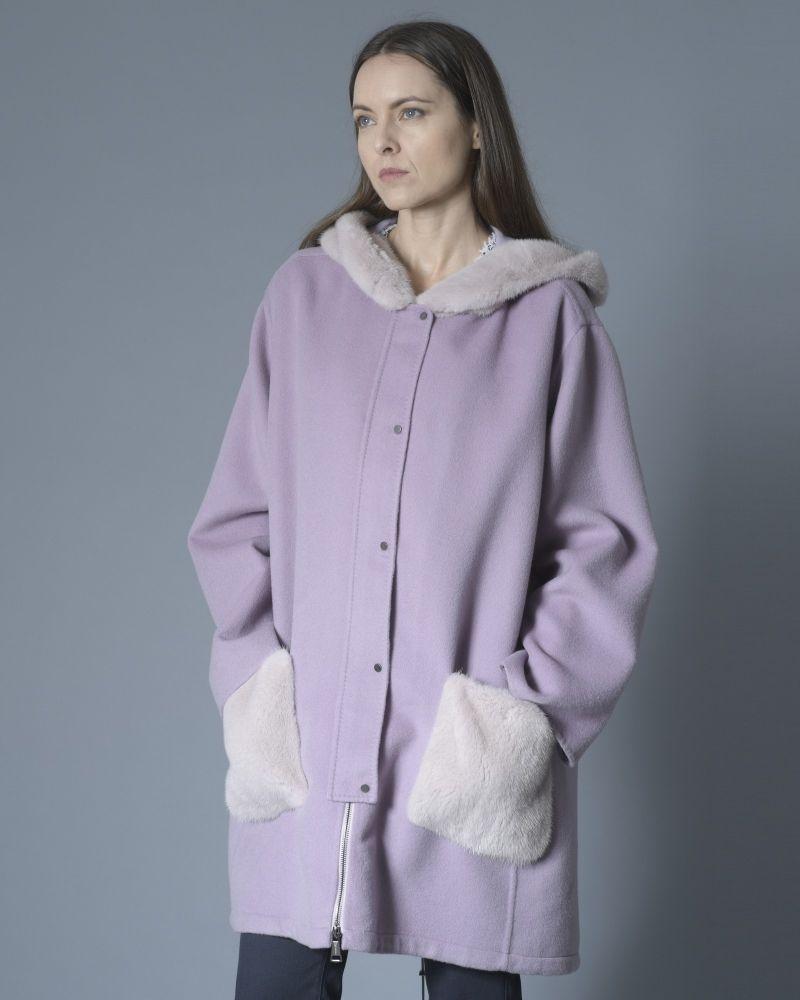 Manteau à capuche laine et fourrure