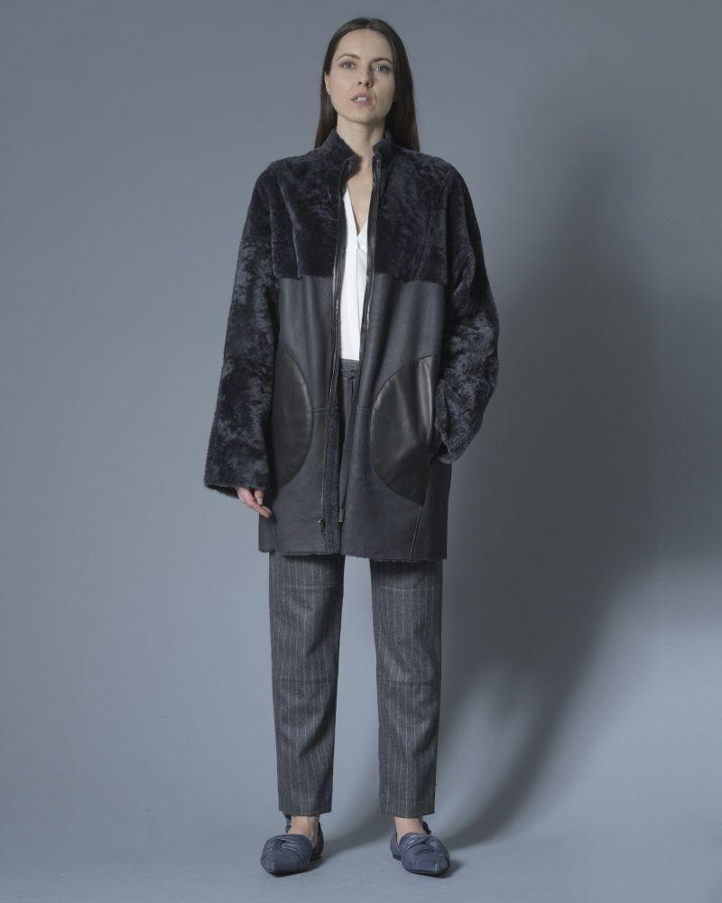 Manteau en cuir et peau lainé Sonia Speciale