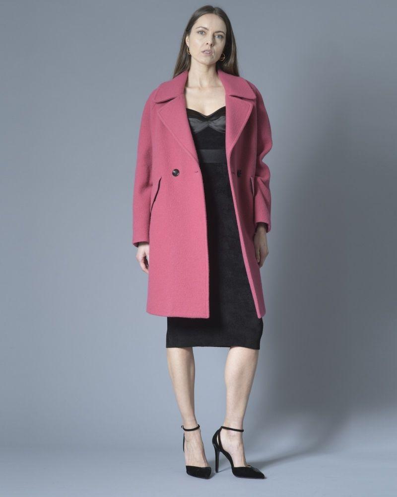 Manteau à double boutonnage en laine rose