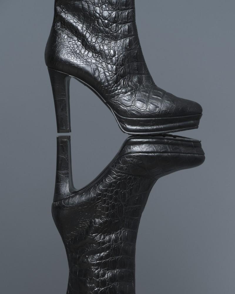 Bottes en cuir effet croco à talon Alberta Ferretti