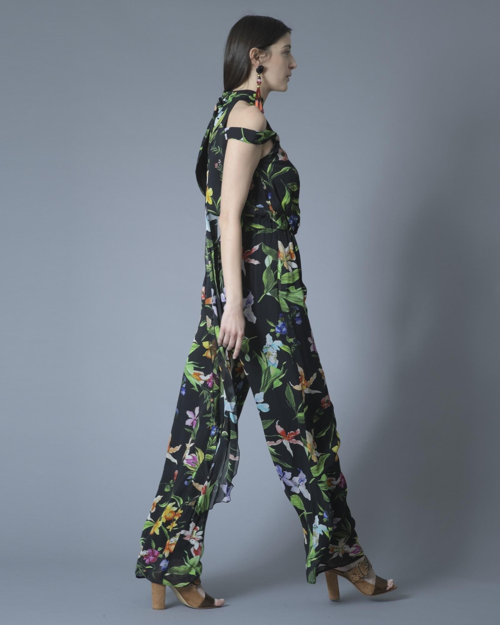Robe noire à imprimé floral Nenette