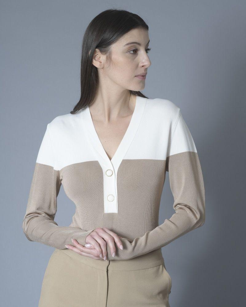 Body bicolore manche longue beige/blanc Space Simona Corsellini