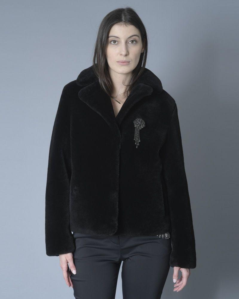 Veste en peau lainée noire Stand Studio