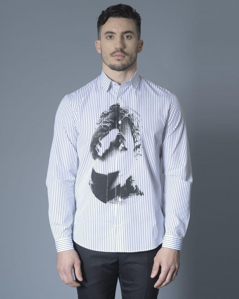 Chemise blanche à rayures Alexander McQueen