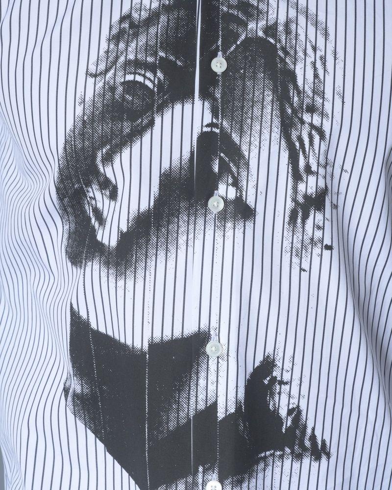 Chemise en coton à rayures et imprimée statue grecque Alexander McQueen