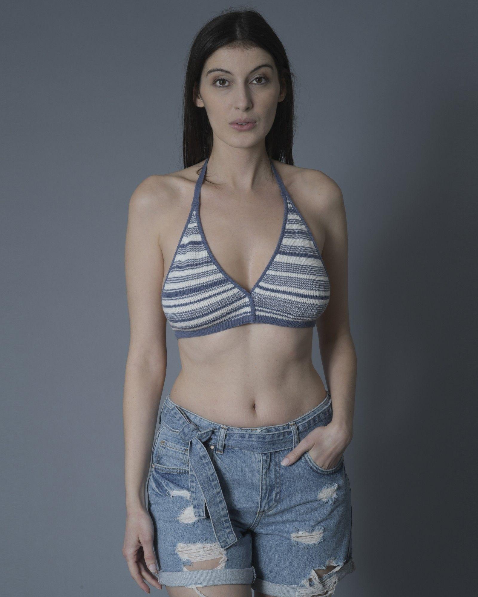 Haut de bikini bicolore blanc/bleu Maison Margiela