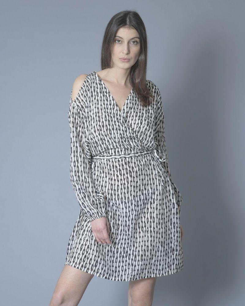 Robe en soie bicolore noir/blanc Nude