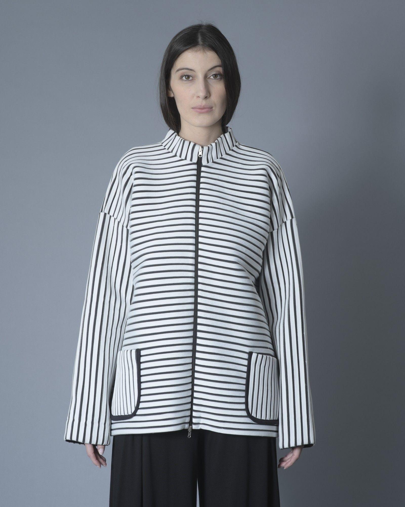 Veste bicolore à rayures noir/blanc Stefano Mortari
