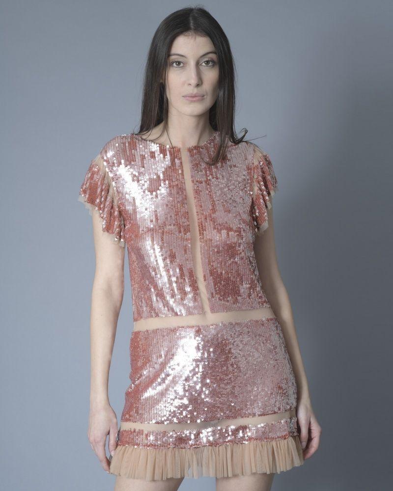 Robe rose à sequins Elisabetta Franchi