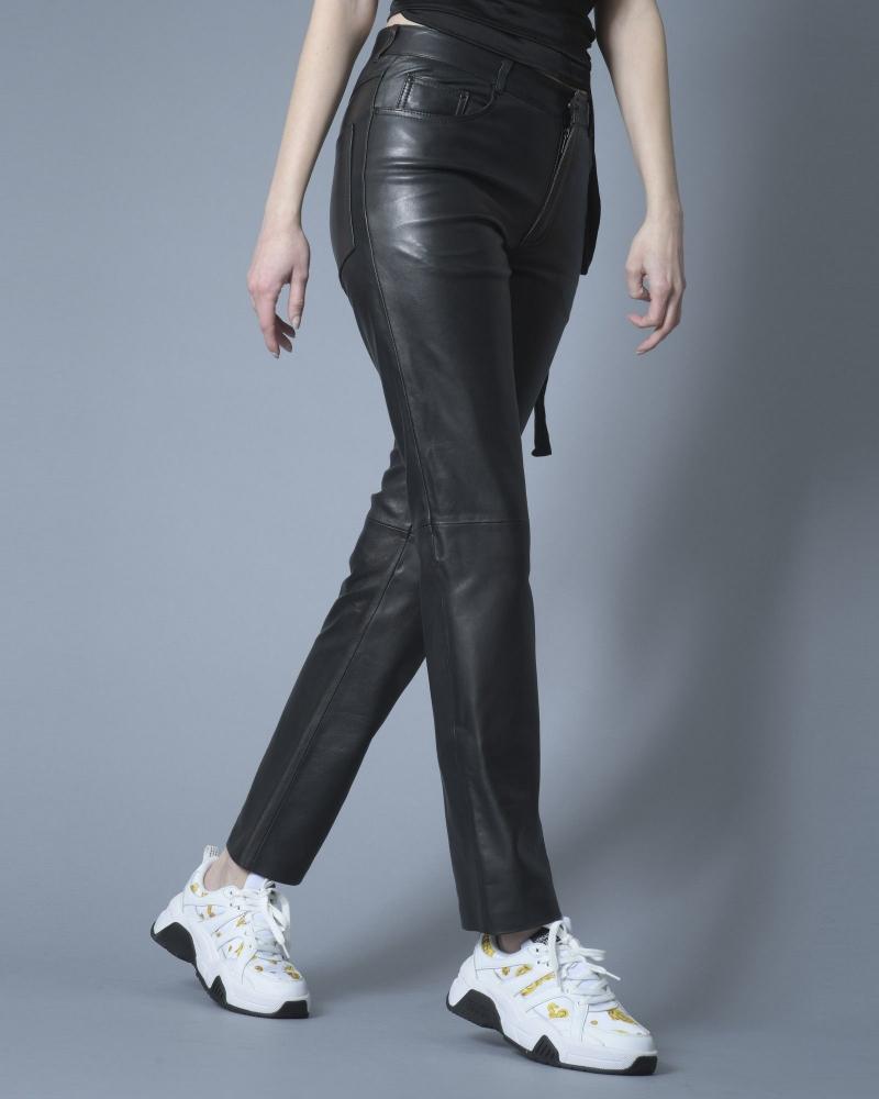 Pantalon droit en cuir Stand Studio