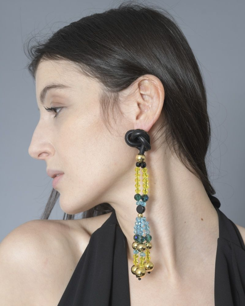 Boucles d'oreilles à cristaux facettés Emilio Pucci