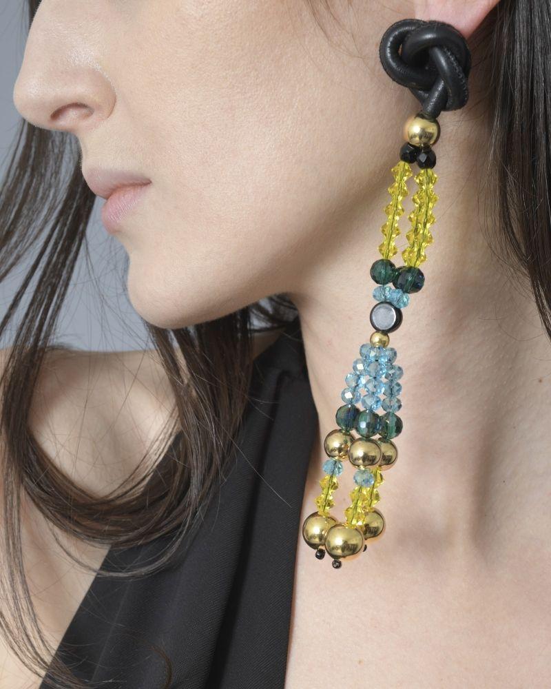 Boucles d'oreilles en perles jaune/bleu/noir/or Emilio Pucci