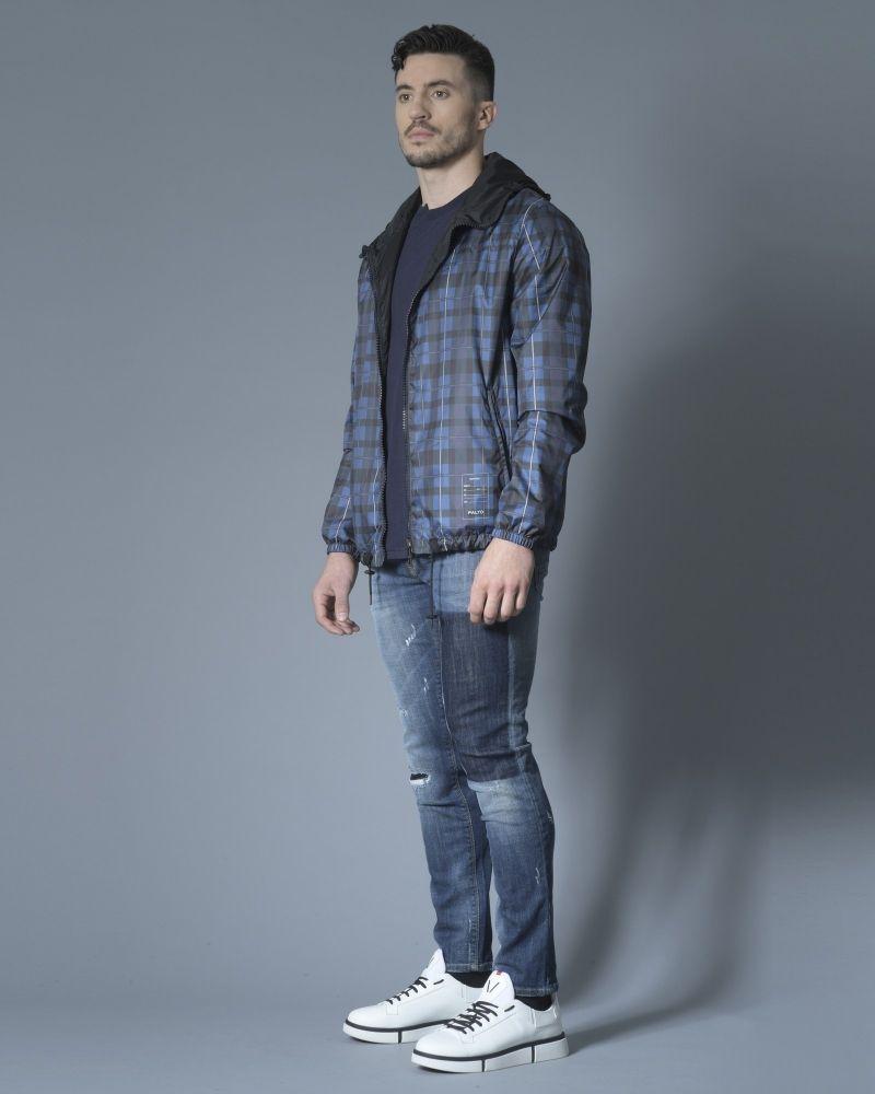 Jean skinny bleu effet vieilli à empiècement 3D