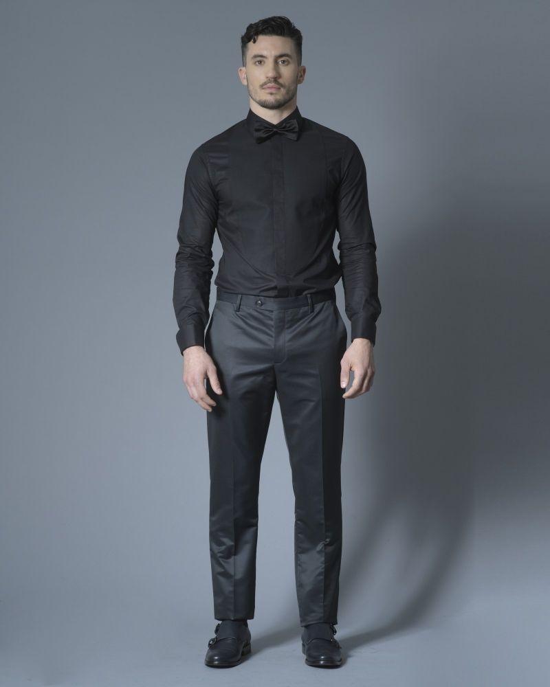 Chemise en coton noir à plastron Pal Zileri