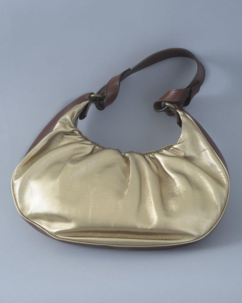 Sac en cuir métallique doré à finitions en cuir lisse Gianna Meliani