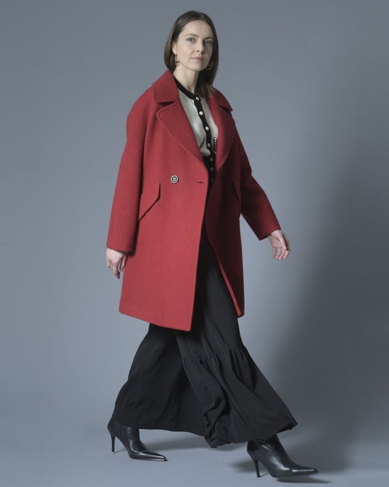 Manteau structuré oversize rouge Palto