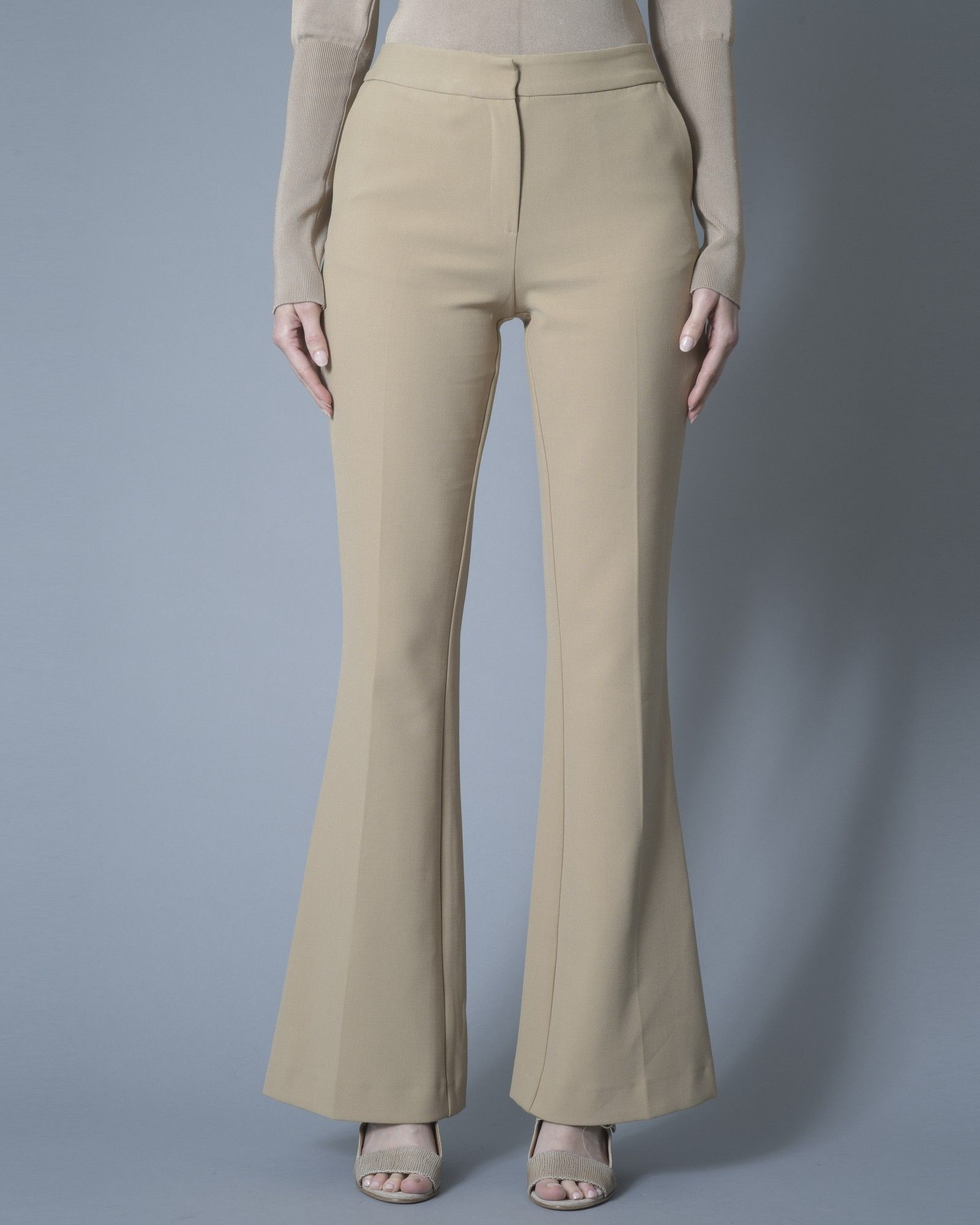 Pantalon évasé stretch beige Space Simona Corsellini