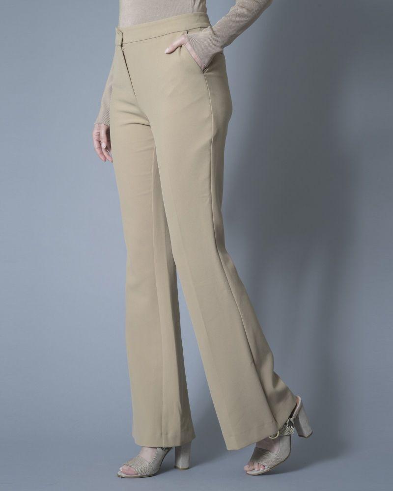 Pantalon évasé stretch beige Space Simona Corsellini