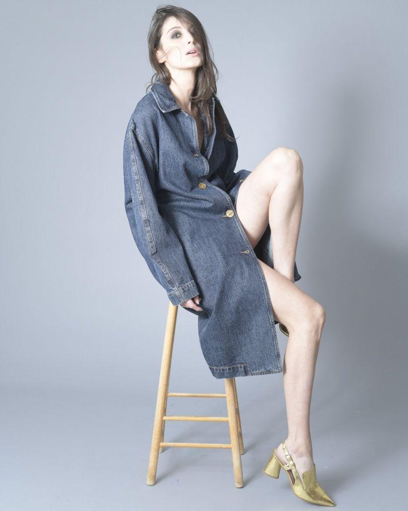 Escarpins en cuir texturé et métallisé à talons évasés Tosca Blu