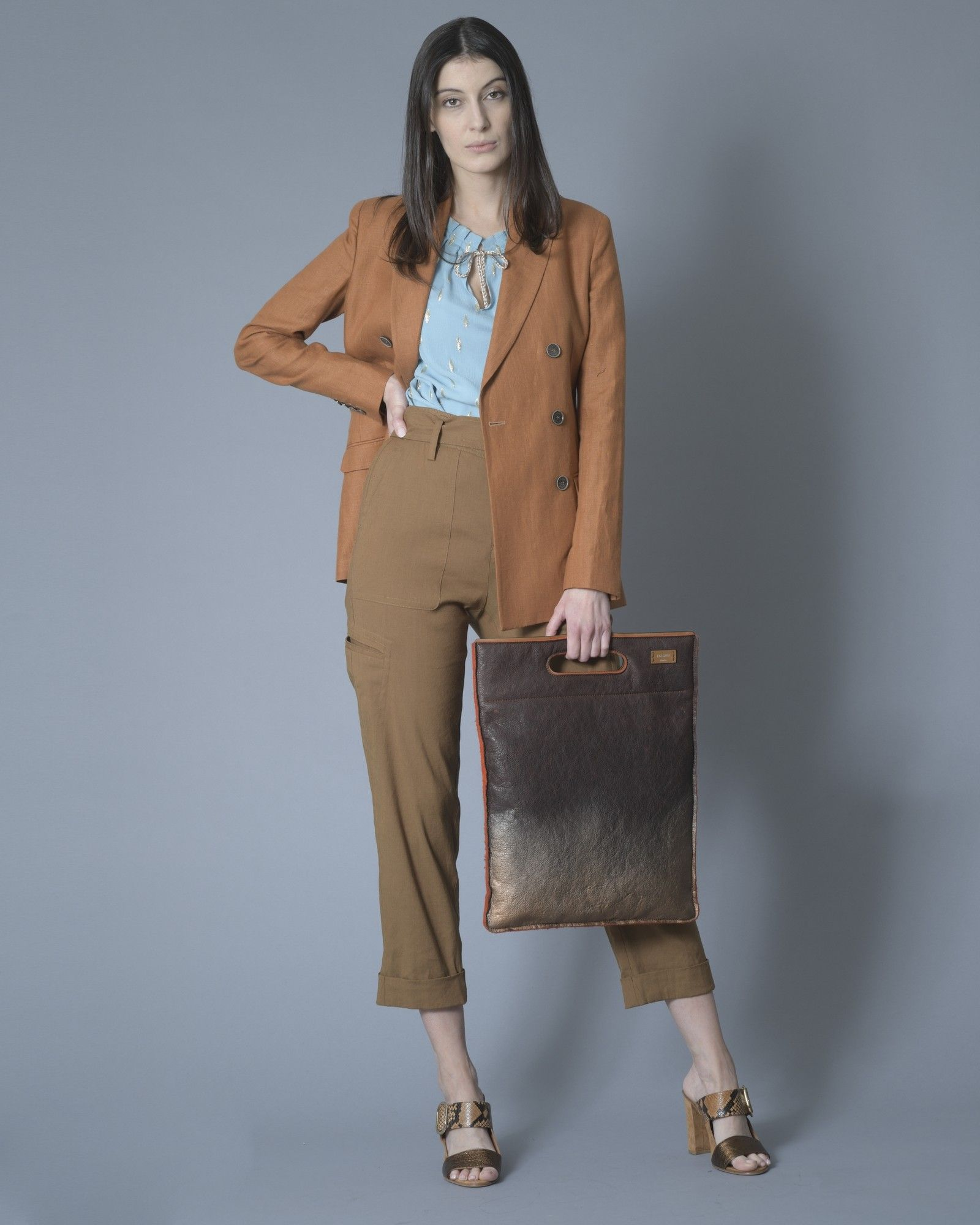 Sac cabas bronze,interieur orange Falorni