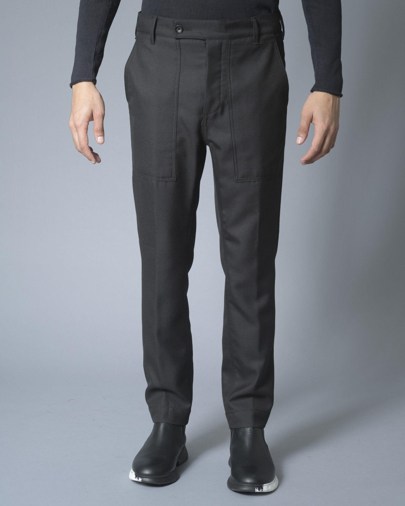 Pantalon en coton noir à poches cargos Ly Adams