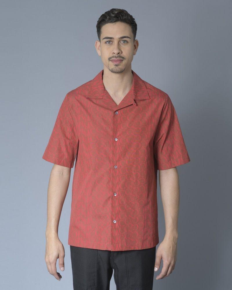 chemise rouge à imprimé Alexander McQueen