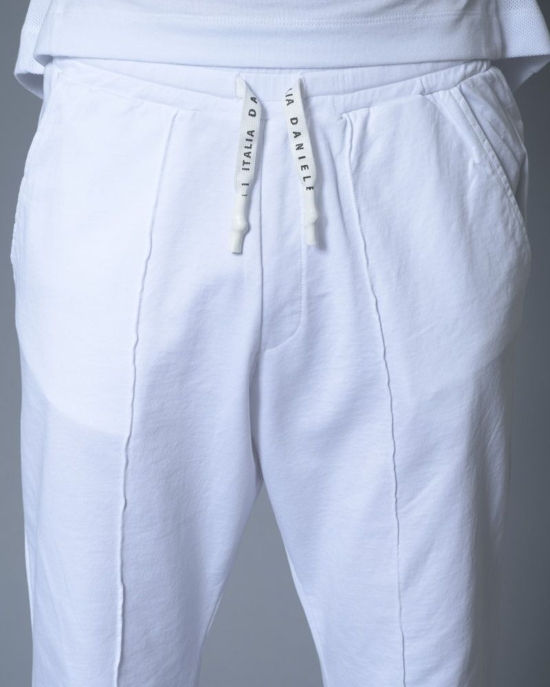 Pantalon de jogging en coton blanc Daniele Fiesoli