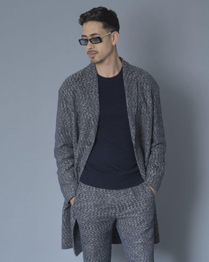 Manteau en tweed de coton bleu Ly Adams