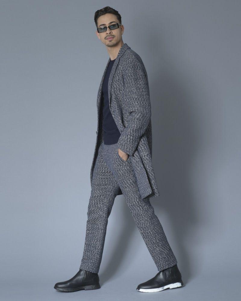 Pantalon en tweed de coton mélangé bleu Ly Adams