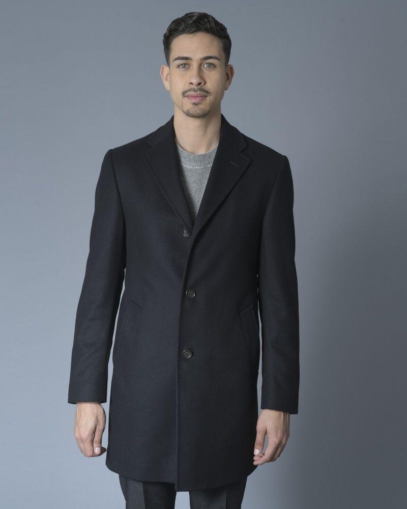 Manteau en laine mélangée noir Nino Danieli