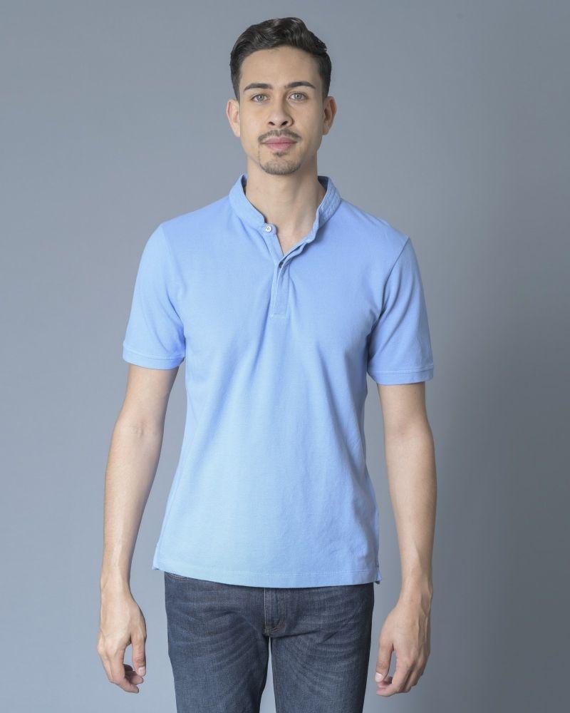 T-shirt Bleu col mao Daniele Fiesoli