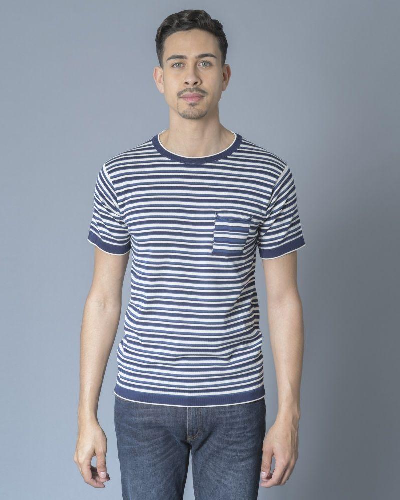 T-shirt Bleu à rayures Daniele Fiesoli