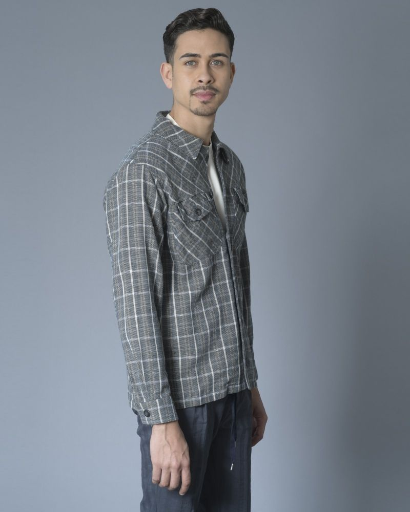 Chemise en coton et lin à carreaux Editions M.R