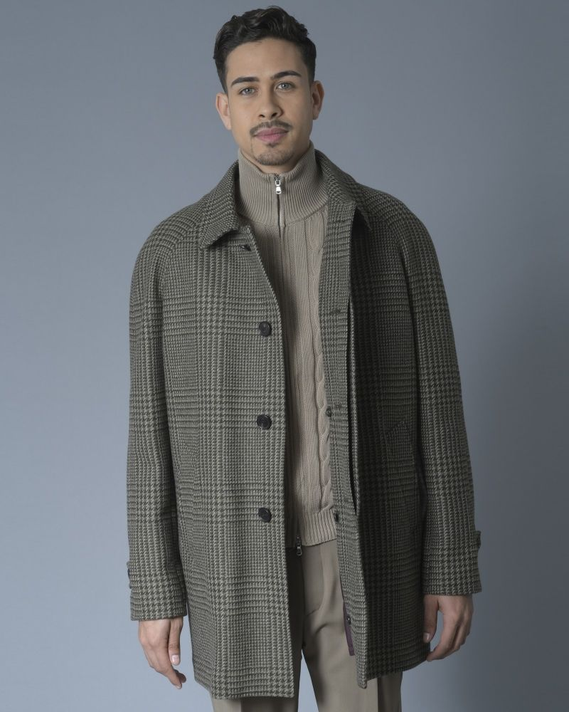Manteau en laine à motif pieds de poule et gilet amovible Corneliani