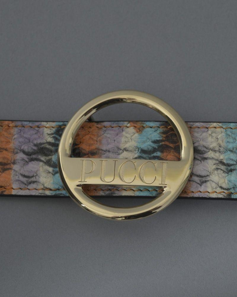 Ceinture en cuir effet serpent à boucle doré Emilio Pucci