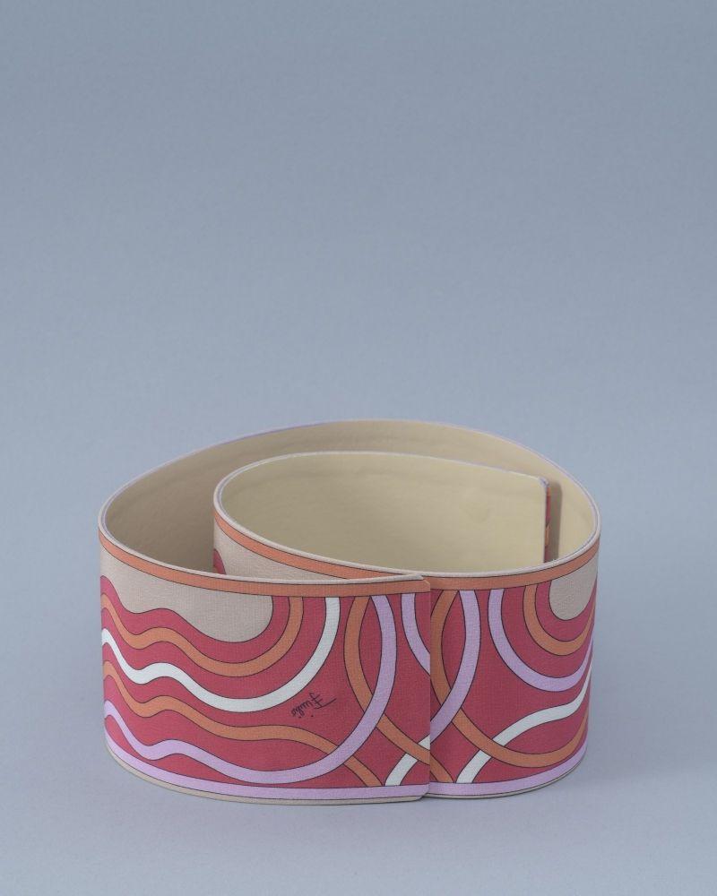 Ceinture en cuir et tissu imprimé Emilio Pucci
