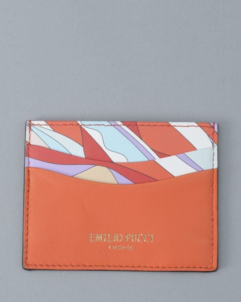 Portes cartes orange/bleu Emilio Pucci