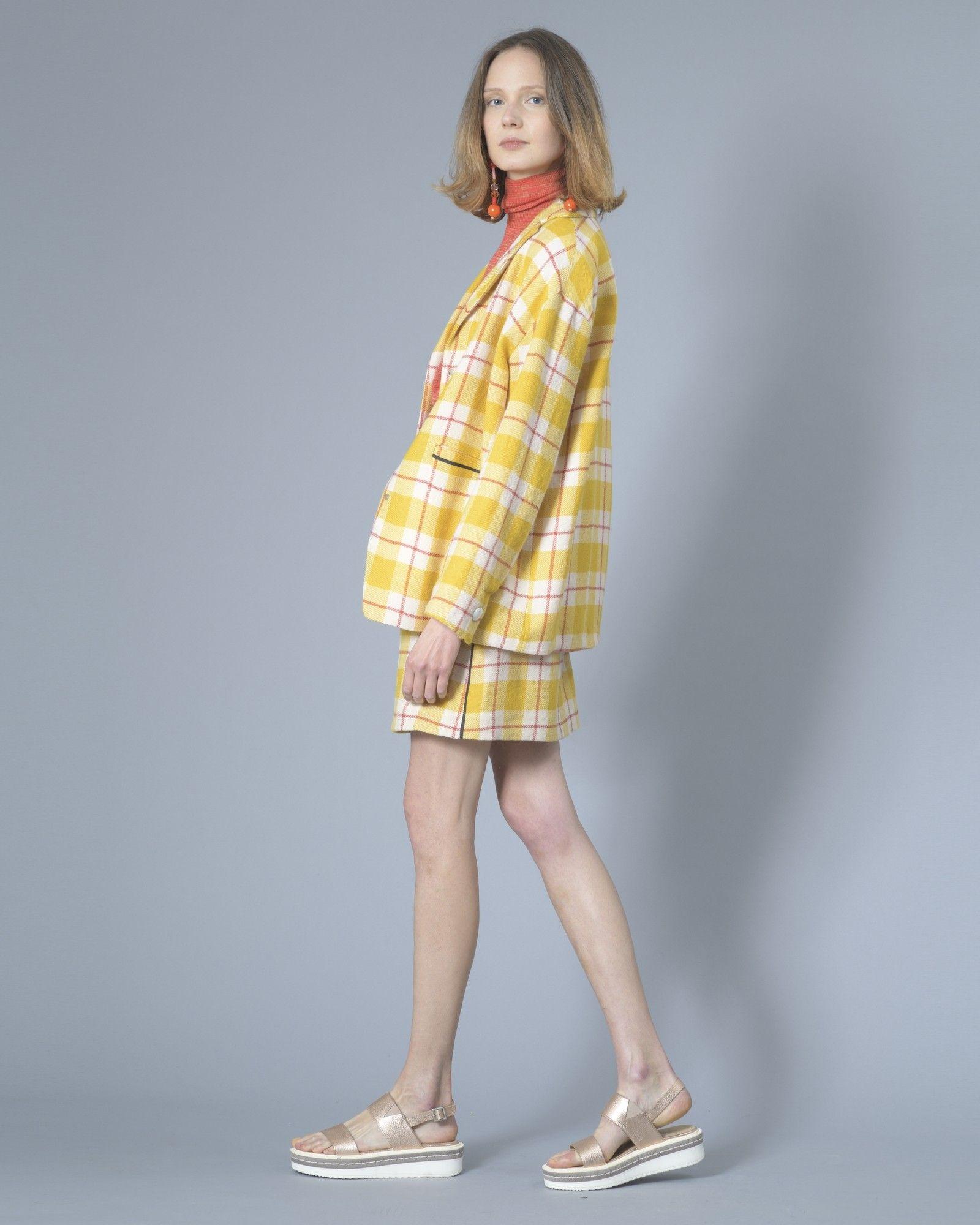 Jupe jaune à motif carrelé Momoni