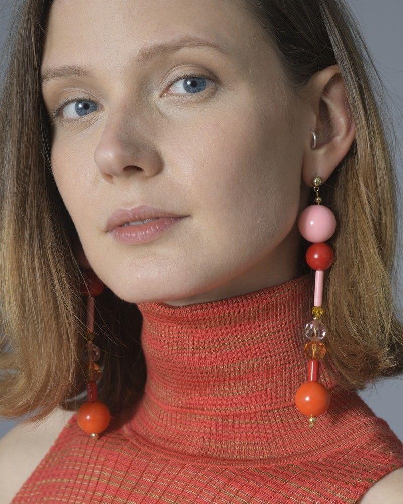 Boucle d'oreille à perles Orange Rouge OR Emilio Pucci